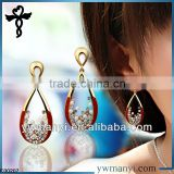2014 new fashion ladies stud designs pearl rhinestones color enamel indian gold jhumka earrings in zinc alloy jewelry E00207