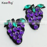 2017 Spring beaded purple grape patch for decoration WPHB-038