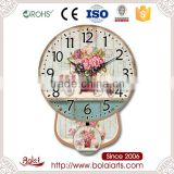 Strict process green desk full bloom flowers and mini bicycle sweet pendulum wall clocks
