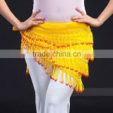 SWEGAL WHOLESALE yellow 4rows beautiful wrap skirt Belly dance hip scraf SGBDJ13035