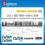 tv broadcasting equipment dvb-c/t/t2/s/s2 tuner input 2 in 1 hd IRD with decoding hdmi/sd output