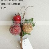 "New Artificial Christmas Red/Gold Flower Pick 5"" Artificial Fruit Ball Flower With Berries"