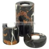 Black and Gold Marble Tea Light Candle Holder Set