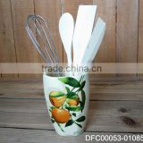 Orange Decal Ceramic Kitchen Utensil Holder/ Organizer with Wooden Spoons & Iron Stirrer