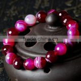 New Crazy lace agate stone beads elastic bracelet, lace agate lace bracelets connected to rings,Gemstone Bracelets