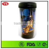 BPA Free customize 16 ounce double wall plastic coffee cup with removable photo for coffee