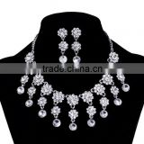 Wholesale silver indian bridal beautiful flower rhinestone crystal necklace jewelry sets