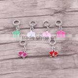 Dark silver european orchid hanging Enamel dangle bead Charm Fit European Charm Bracelet & Necklace