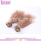 Qingdao high quality no tangle no shed hair weave 100% virgin malaysian human hair clip in jerry curl hair extension