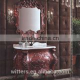 Thailand furniture manufacturer imported oak solid wood make antique bathroom vanity cabinets without led mirror lights WTS301