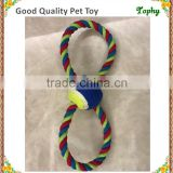 Smile ball tug rope dog toy, cotton rope bird toys with ball middle for dogs, cheapest rope ball pet toy