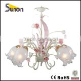 SD1005-5 Ivory white Iron With Pink Flower Ceramic Flower Girl's Room Decorative Chandelier
