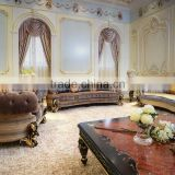 Elegant French New Classic Fabric Upholstered Sectional Sofa / Luxury Palace Hand Carved Wooden Living Room Furniture Sofa Set