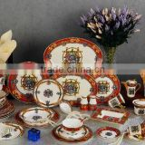 High-class ceramic dinner ware red color silk fibbon flower design bone china dinnerware set