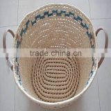 natural maize rope customized laundry storage proofing basket nesting for home decoration corn husk rope woven basket