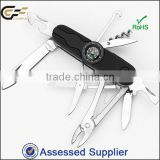Soft touch handle stainless steel swiss type multifunction pocket knife coming with a compass for survival