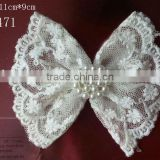 CF0386 2013 New arrival pretty white lace beautiful hair bows