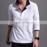 Custom Made New Design of Men's Two Layer Collar Polyester Bowling Polo Shirt With Full Sleeve