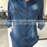 ladies 2014 fashion best quality ladies jeans shirts, women style blue jean shirts,