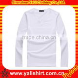 oem custom men's long sleeves v-neck white t-shirts wholesale different style bamboo fabric soft fit wear t-shirts