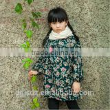 2016 hot wholesale frozen frocks decorated with flowers beautiful winter dress for girls