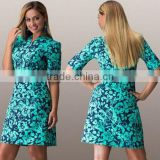 Hot Sale Euro Fashion L-6XL Printed Polyester Fat women dress Round Neck Long sleeve bodycon plus szie dress for women