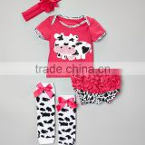 2016 Hot Pink 4pcs Baby Girl Clothing Sets Delicate Infant Wear With Cow Pattern Adorable Toddler Suits CS90425-28