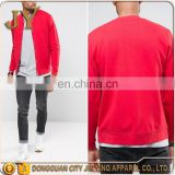 Press-stud Placket Ribbed Hem and Cuff Baseball Collar Red Jersey Bomber Jackets with Snaps JYABE020