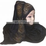 Hosiery Hijab Designs 2017 / Black Color Scarf With Golden Diamond Stone Work / Casual Wear Stole 2018 (scarves scarf stoles)