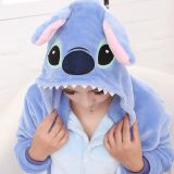 Stitch Doll Cartoon Flannel Conjoined Polyester Pajamas