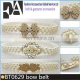 BT0629 Dress Bow Pearl Elastic Mental Cristal Buckle Skinny Belt for Women Wholesale
