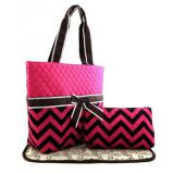 chevron printed diaper bag set with waterproof fabric