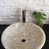 White Onyx Mosaic Bathroom Vessel Round Sink Stone Wash Basin