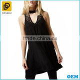 Plain sexy ladies black long style sleeveless plunge V neck lace crochet swing tunic tops