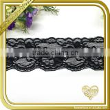 Custom design black embroidered scalloped elastic lace trim for blouse FLL-031                                                                         Quality Choice