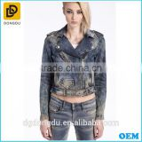 hot sale 2016 denim jacket women short jean denim coat ladies bike jackets
