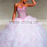 2014 New High Quality Royal sleeveless Ball Gown with Short Sleeves Jacket and colorful beaded Quinceanera Dress