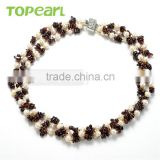 Topearl Jewelry Potato White Freshwater Cultured Pearl Necklace Mixing Garnet Beads Price of Charm Necklace NJ304460