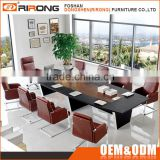 Modern meeting table stainless steel frame 2.4m black leather luxury conference room table