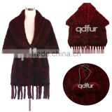 QD30488 2014 Hot Sell New Design Woman Winter Wear Mink Knitted Shawls /Fur Ponchos /Mink fur cape