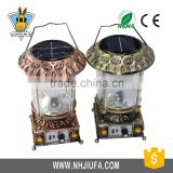 JF Classic Lantern Exterior Lighting with gold color, Metal Lantern Usb Led Light, camping flashlight