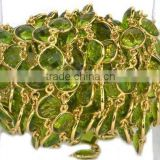 AAA Beautiful Natural Peridot Hydro Heart Shape Bezel Link Continuous Connector Chain 10mm In 24k Gold Plated Wire by foot