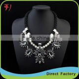 New design long chain balck gem stone pandent necklace simple alloy gold plated necklace