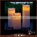 Big Size Pillar LED wax flameless candle with soft warm white LED