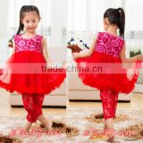 2015 persnickety spring kid clothes,baby girls sleeveless floral chiffon dress and lace leging set