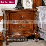 Rubber wood classical bedside table with drawers, wooden nightstand, wood night table C-259