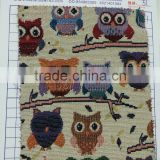 Owl Printing Jacquard Yarn Dyed Fabric for Curtain, Stock Low MOQ Fabric Upholstery