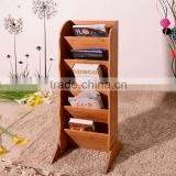 Fashion office furniture display&storage rack,5 tiers bamboo magazine paper rack