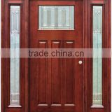 Exterior Stained Mahogany Prehung Double Solid Wooden Doors With 2 Side lites                                                                                                         Supplier's Choice