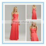 Long Style Ruched Sweetheart Neckline Multi-Layered Satin Bridesmaid Dress Hot Pink( BDAL-4013)